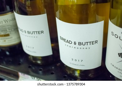 Culver City, California/United States - 4/5/19: Several wine bottles of Bread and Butter