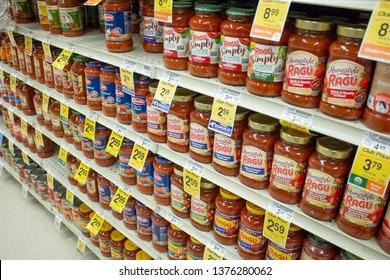 Culver City, California/United States - 4/5/19: Several brands of marinara sauce, or tomato sauce