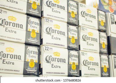 Culver City, California/United States - 4/5/19: Several cases of Corona Extra aluminum cans at the grocery store