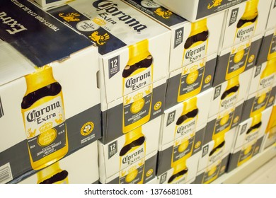 Culver City, California/United States - 4/5/19: Several cases of Corona Extra glass bottles at the grocery store