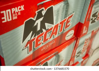 Culver City, California/United States - 4/5/19: Several cases of Tecate beer cans at the grocery store
