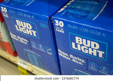 Culver City, California/United States - 4/5/19: Several cases of Bud Light beer cans at the grocery store