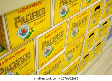 Culver City, California/United States - 4/5/19: Several cases of Pacifico bottled beer at the grocery store