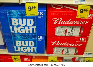 Culver City, California/United States - 4/5/19: Several cases of Bud Light and Budweiser beer cans at the grocery store
