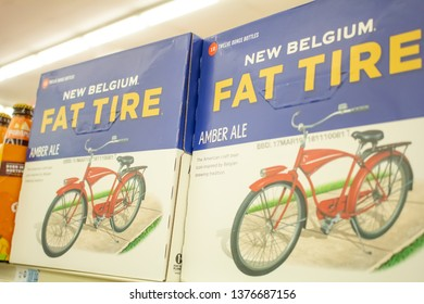 Culver City, California/United States - 4/5/19: Cases of Fat Tire beer at the grocery store