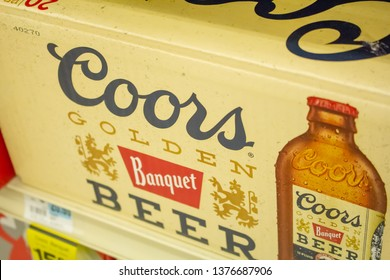 Culver City, California/United States - 4/5/19: A case of Coors Banquet beer bottles at the grocery store