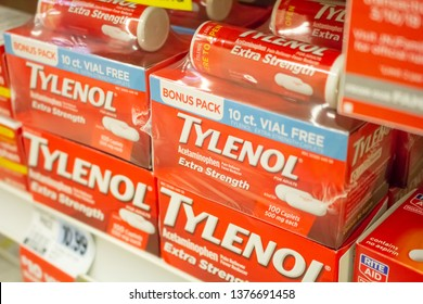Culver City, California/United States - 4/5/19: Several products of Tylenol at the drug store