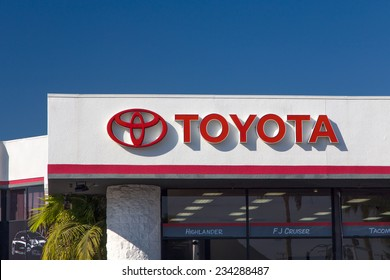 CULVER CITY, CA/USA - NOVEMBER 29, 2014: Toyota automobile dealership sign. Toyota is a multi-national Japanese automotive manufacturer.