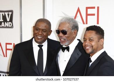 CULVER CITY - JUN 9: Forest Whitaker, Morgan Freeman, Cuba Gooding Jr at the 39th AFI Life Achievement Award Honoring Morgan Freeman in Culver City, California on June 9, 2011.