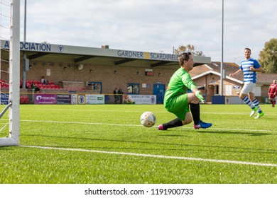 Culver Road, Lancing, UK; 30th September 2018; Goalkeeper Unsuccesfully Attemps to Prevent a Goal During  Amateur Football Match Between Hillside Rangers FC v Horsham Crusaders FC