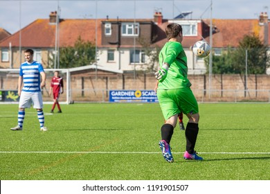 Culver Road, Lancing, UK; 30th September 2018; Full Length Rear View of Goalkeeper Kicking the Ball During  Amateur Football Match Between Hillside Rangers FC v Horsham Crusaders FC