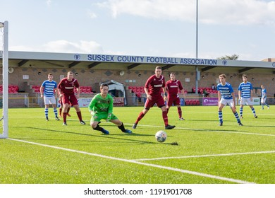 Culver Road, Lancing, UK; 30th September 2018; Goalkeeper Attempts Save  During  Amateur Football Match Between Hillside Rangers FC v Horsham Crusaders FC