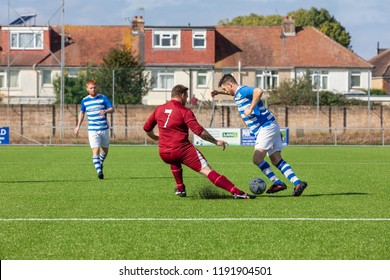 Culver Road, Lancing, UK; 30th September 2018; Player Attempts to Dribble Past an Opponent During  Amateur Football Match Between Hillside Rangers FC v Horsham Crusaders FC