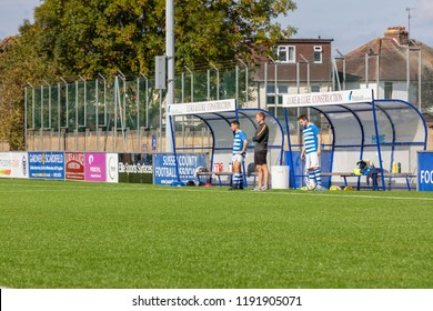 Culver Road, Lancing, UK; 30th September 2018; Manager and Two Substitutes  at the Side of the Pitch During  Amateur Football Match Between Hillside Rangers FC v Horsham Crusaders FC