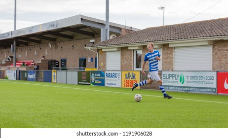 Culver Road, Lancing, UK; 30th September 2018; Player Looks Up Before Crossing Ball  During  Amateur Football Match Between Hillside Rangers FC v Horsham Crusaders FC