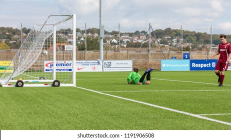 Culver Road, Lancing, UK; 30th September 2018; Goalkeeper Lying on Ground as Goal is Scored During  Amateur Football Match Between Hillside Rangers FC v Horsham Crusaders FC