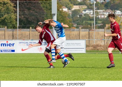 Culver Road, Lancing, UK; 30th September 2018; Two Players Challege for the Ball During  Amateur Football Match Between Hillside Rangers FC v Horsham Crusaders FC