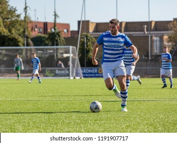Culver Road, Lancing, UK; 30th September 2018; Football Player Runs with Ball During  Amateur Football Match Between Hillside Rangers FC v Horsham Crusaders FC