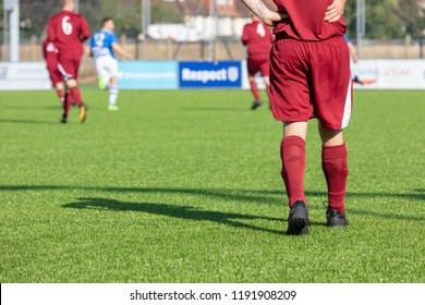Culver Road, Lancing, UK; 30th September 2018; Chest Down Rear View of Football Player During  Amateur Match Between Hillside Rangers FC v Horsham Crusaders FC