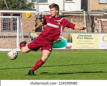 Culver Road, Lancing, UK; 30th September 2018; Football Player Kicking Ball During  Amateur Football Match Between Hillside Rangers FC v Horsham Crusaders FC