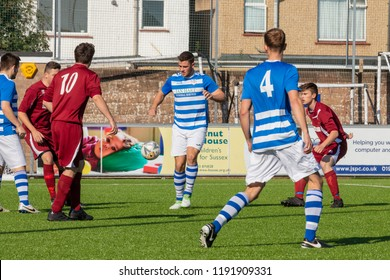Culver Road, Lancing, UK; 30th September 2018; Several Players in Action During  Amateur Football Match Between Hillside Rangers FC v Horsham Crusaders FC