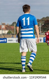 Culver Road, Lancing, UK; 30th September 2018; Full Length Rear Portrait of Football Player During  Amateur Football Match Between Hillside Rangers FC v Horsham Crusaders FC
