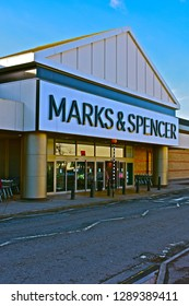 Culverhouse Cross, Cardiff County Borough / Wales - 1/18/2019: The Welsh flagship store of Marks & Spencer -(M&S) clothing and food retailer at Culverhouse Cross out of town retail park, near Cardiff.