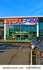 Culverhouse Cross, Cardiff County Borough / Wales - 1/18/2019: The front entrance of the Tesco extra superstore at Culverhouse Cross on the outskirts of Cardiff.
