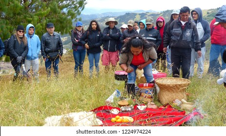 Cumbe, Azuay, Ecuador - September 22, 2018: Chacana (Chakana) or Ceremony in homage to Pachamama (Mother Earth) - is an aboriginal ritual of the indigenous peoples of the central Andes, Shisho hill
