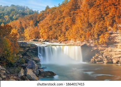 Cumberland Falls on the Cumberland River in Cumberland Falls State Resort Park, Kentucky, USA. - Shutterstock ID 1864017415