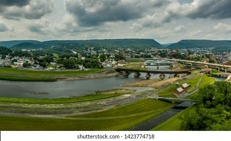 Cumberland Maryland with bridges over the Western Potomac River in the USA