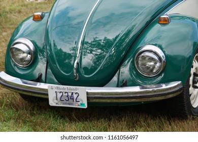 Cumberland, RI/USA- August 19, 2018: A horizontal closeup image of a vintage VW beetle at an annual summer car show.