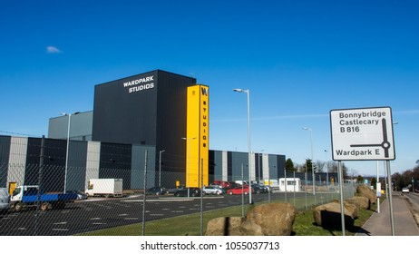 Cumbernauld, Scotland, UK; March 19th 2018: The exterior of  Wardpark  Film and Television Studios. Host of the Outlander television series.