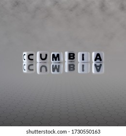 cumbia dance style concept represented by black and white letter cubes on a grey horizon background stretching to infinity