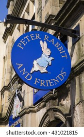 CUMBRIA, UK - MAY 29TH 2016: A sign for the Peter Rabbit and Friends Gift Shop in Bowness-on-Windermere in the Lake District, on 29th May 2016.