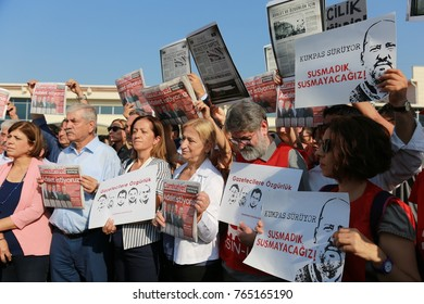 """""""Cumhuriyet Case"""" is going on. Lots of deputy, leaders of organisations and readers of this oldiest newspaper of Turkey were there to follow the case. Istanbul, Turkey. September 11, 2017."""