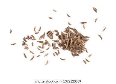 Cumin, caraway seeds isolated on white background, top view