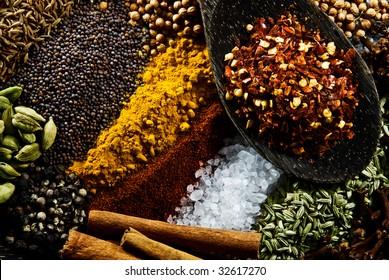 Cumin, Paprika, Cardamon, Cinnamon, Mustard Seed, Coriander Seed, Tumeric, Salt, Pepper, Fennel, Cloves and Chili.