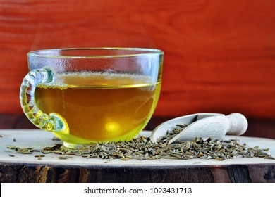 Cumin seed tea, jeera water for weight loss in glass mug