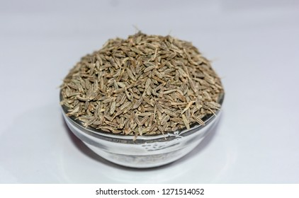 Cumin Seeds(Jeera) Also know As Caraway, Isolated On White Background.