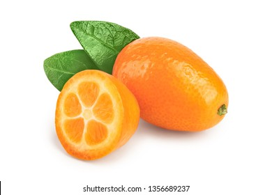 Cumquat or kumquat with half isolated on white background