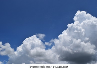 Cumulonimbus cloud formations on tropical blue sky , Nimbus moving , Abstract background from natural phenomenon and gray clouds hunk , Thailand
