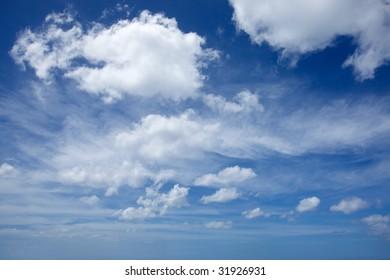 Cumulus clouds and blue sky