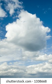 Cumulus clouds and blue sky before a storm