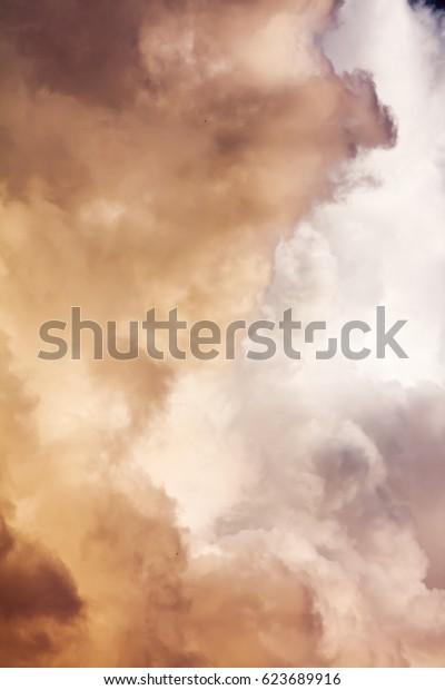 Cumulus thunderclouds in summer, vertical