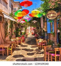 Cunda, Ayvalik / Turkey - August 14 2016 : Colourful street of the island