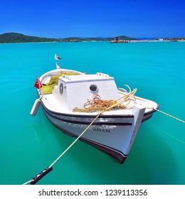 Cunda, Ayvalik / Turkey - August 14 2016 : Boat in the harbour