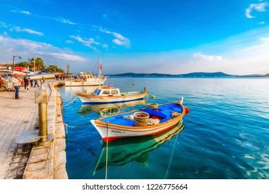 Cunda Island, Turkey - November 08, 2018 : Fishing boats view in Cunda İsland on Ayvalik Bay