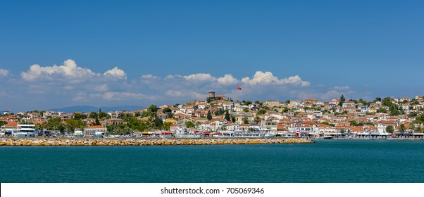 Cunda Island view from sea. Cunda Island a typical Aegean resort town. Cunda Island off the coast of Ayvalik, Balikesir Province. Turkey.