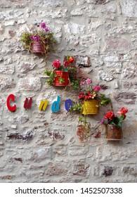 Cunda sign in Cunda Island, in the Aegean coastal town Ayvalik, Turkey. Cunda Island is known also as Alibey Island.